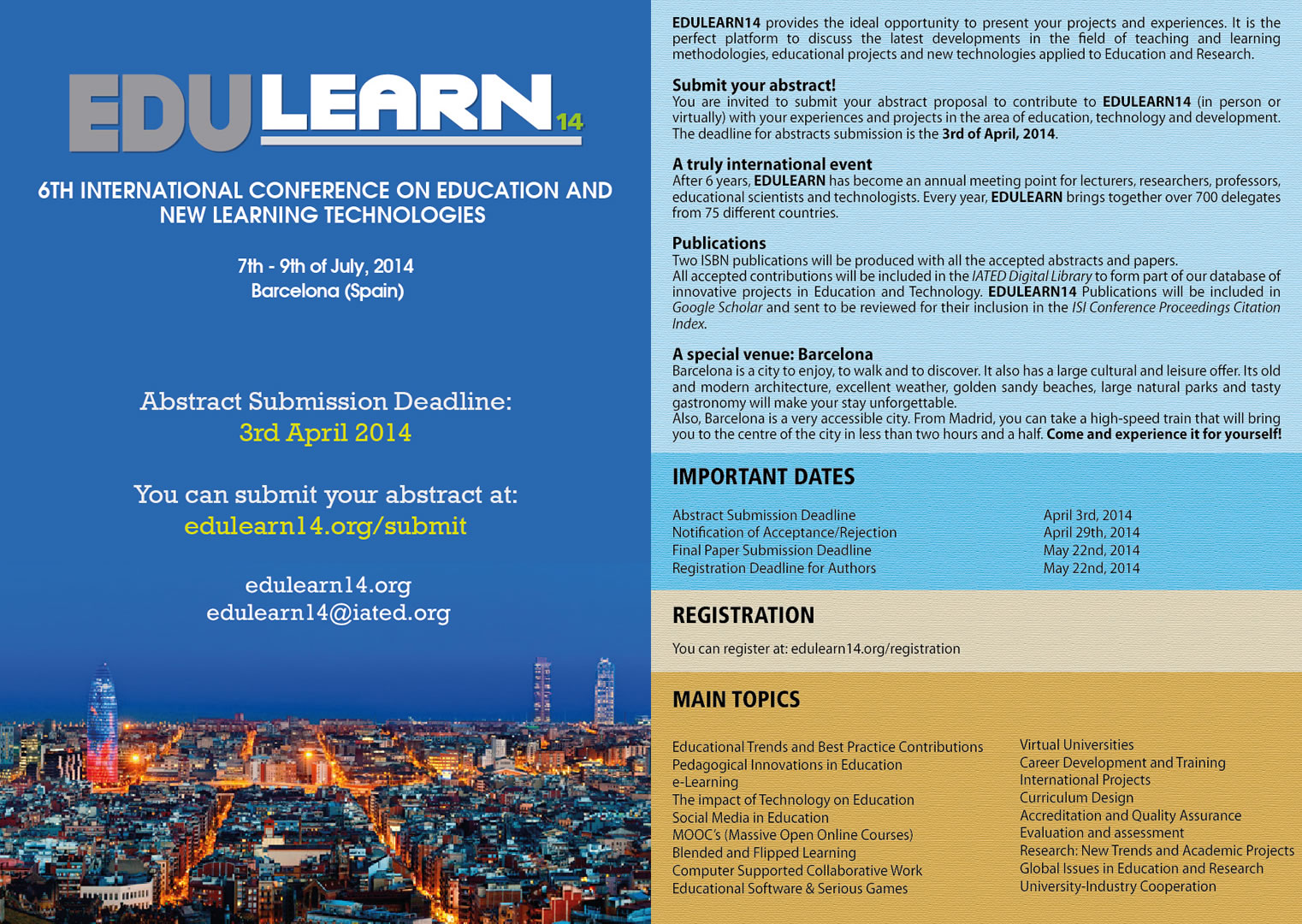 zsi recommends edulearn14 conference zsi centre for social