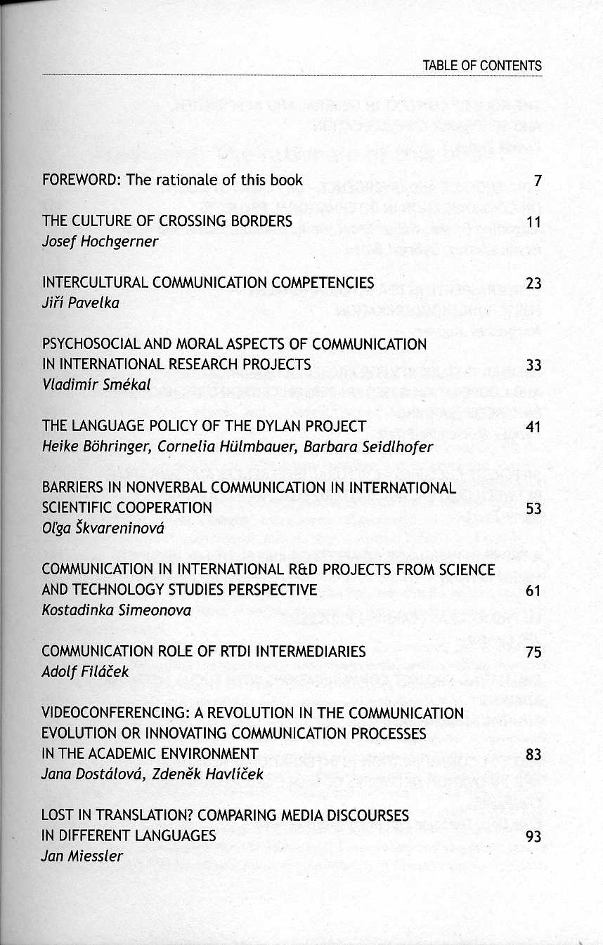Communication in International R&D Projects - ZSI